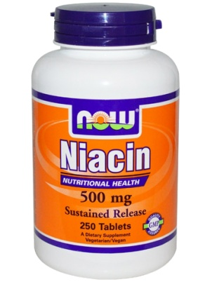 NOW Foods Niacin 500mg Sustained Release 250 tab 250 таб.