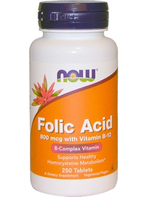 NOW Folic Acid & B12 250 таблеток
