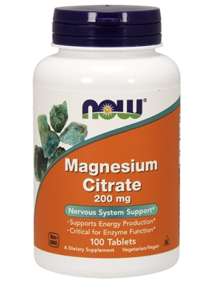 NOW Magnesium Citrate 200mg 100 таб.